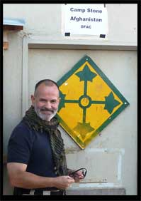 After retirement, this is Mike Lowell on assignment at Camp Stone, Afghanistan